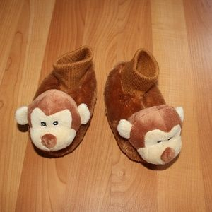 Kids Boy Girl SOCK MONKEY Slippers Booty Non Slip